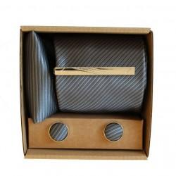 Šedá kravata s jemnými proužky v dárkovém balení MARROM