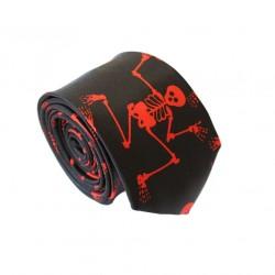 Crazy kravata - černá s červenými kostlivci